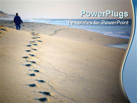 PowerPoint template displaying footprints in sand near ocean, person walking on beach