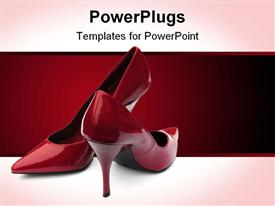 Shot of a pair of red stilettos on white powerpoint theme