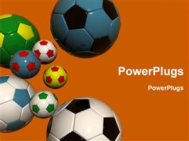 PowerPoint template displaying colorful soccer balls on orange background