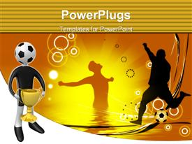 Computer generated image - Football player holding the cup, football powerpoint design layout