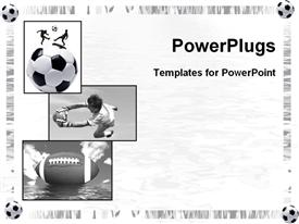 PowerPoint template displaying three tiles showing different sports balls in negative color