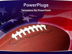 PowerPoint template displaying sports theme with football on waving American flag background