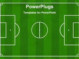 PowerPoint template displaying soccer football ground background, soccer playground, football playground design