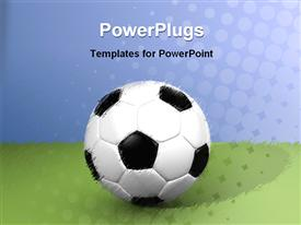 PowerPoint template displaying blurred design of white and black soccer ball on green grass and blue background