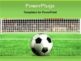PowerPoint template displaying depiction of a football on grass in front of a net