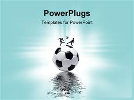 PowerPoint template displaying sports concept with football and players