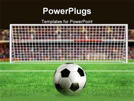 PowerPoint template displaying football placed in front of the goal for a kick