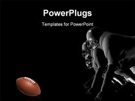 PowerPoint template displaying football players ready to charge forward