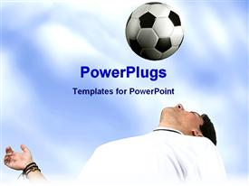 PowerPoint template displaying a soccer player looking towards the football with clouds in the background