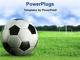 PowerPoint template displaying 3D soccer ball close up on green soccer field