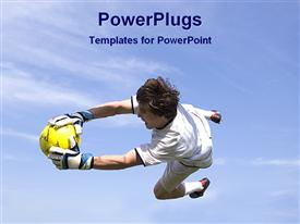 PowerPoint template displaying a goalkeeper holding the football in the air