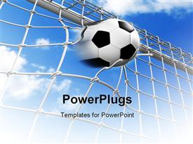 PowerPoint template displaying soccer math with goal scored breaking net with cloudy sky