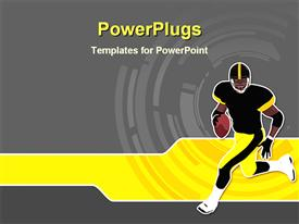 PowerPoint template displaying a rugby player running while holding the ball