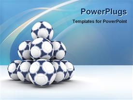 PowerPoint template displaying a number of footballs together with bluish background