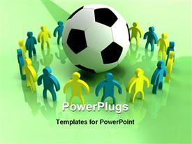 PowerPoint template displaying a football in the middle and a number of people surrounding it