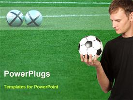PowerPoint template displaying man holding and looking at soccer ball on grassy field