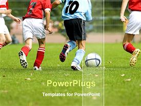 PowerPoint template displaying soccer players in action on grassy field