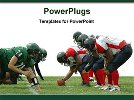 PowerPoint template displaying two separate rugby teams facing each other in a match