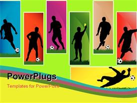 PowerPoint template displaying silhouettes of a football players with multicolor