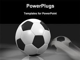 PowerPoint template displaying black and white soccer balls rolling and standing still