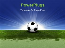 PowerPoint template displaying soccer ball on green grass with light rays