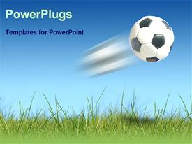 PowerPoint template displaying a Flying football over the green land