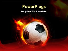 PowerPoint template displaying fast moving black and white soccer ball on fire