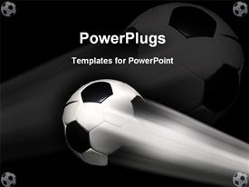 PowerPoint template displaying a football in the air with a blackish background including five footballs