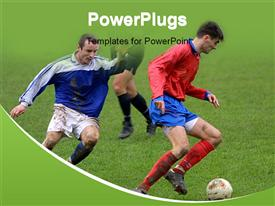 PowerPoint template displaying soccer players in the field competing with each other