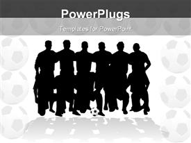 PowerPoint template displaying silhouettes of soccer team in two rows