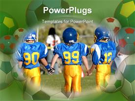 PowerPoint template displaying three players in a team hold hands in a football game