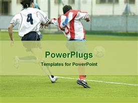 PowerPoint template displaying football players running for the control of the ball