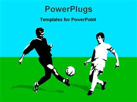 PowerPoint template displaying depiction of two adult males kicking a blass on field