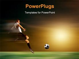 PowerPoint template displaying young soccer player in acrobatic with sunset