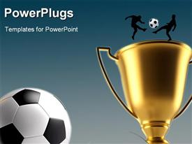 PowerPoint template displaying golden trophy with silhouette of two soccer players and soccer