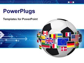 PowerPoint template displaying soccer ball surrounded with group of color world flags with arrows on blue background