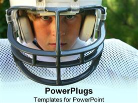PowerPoint template displaying a kid in football gear with greenery in the background