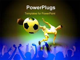 PowerPoint template displaying football player kicking a football into a goal