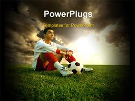 PowerPoint template displaying young soccer player and a sunset