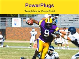 American football played by young men player running with ball powerpoint template