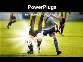 PowerPoint template displaying soccer players fighting for a ball in a soccer match
