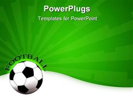 PowerPoint template displaying a football shown with a greenish background and a bit of text