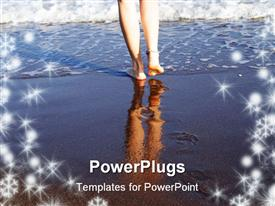 PowerPoint template displaying beautiful woman legs reflecting in waves of surf