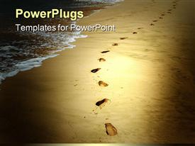 PowerPoint template displaying footprints in the sand along the beach tan