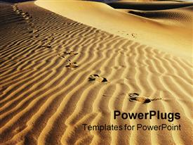 PowerPoint template displaying footsteps on sand dunes, animal footprints on sand dunes