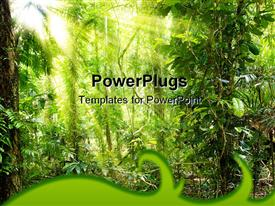PowerPoint template displaying sun filtering through forest tree leaves