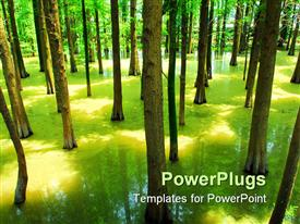 PowerPoint template displaying spring landscape of forest and water in the background.