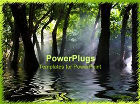PowerPoint template displaying swamp marsh trees dark water fog sun shining through