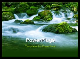 PowerPoint template displaying forest stream running over mossy rocks