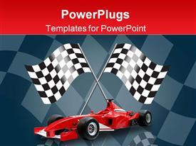 PowerPoint template displaying red formula one car and racing flags in the background